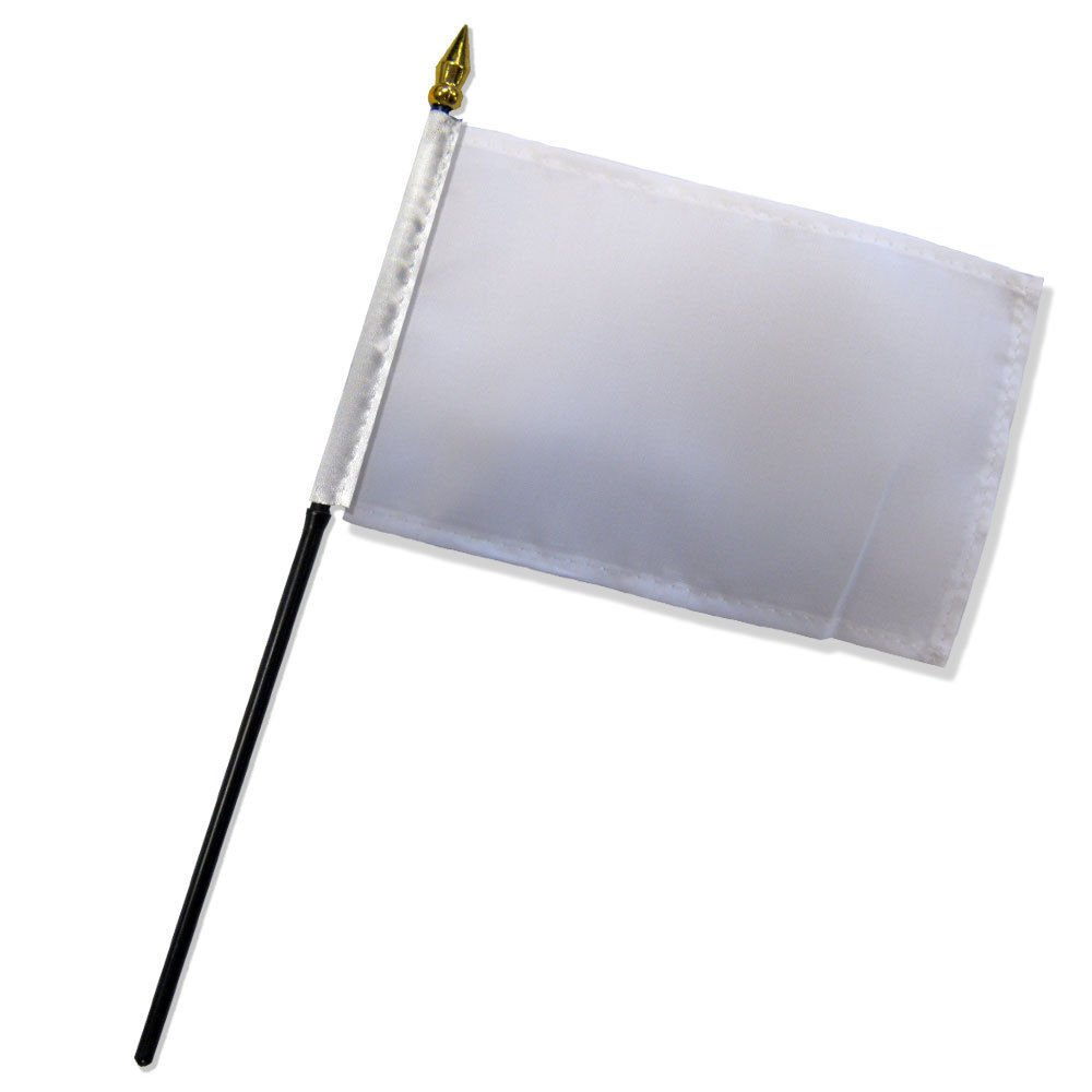 Solid White Plain Flag 4''x6'' Desk Table Set Stick Gold Base PREMIUM Vivid Color and UV Fade BEST Garden Outdor Resistant Canvas Header and polyester material FLAG