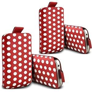 ONX3 - TWIN PACK - Motorola moto E Polka tirón tapón protector de la piel cubierta de la bolsa de cuero de la PU (rojo)