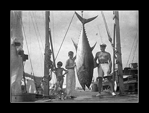 8 x 10 All Wood Framed Photo Ernest Hemingway And Sons Catac World Size Tuna Big