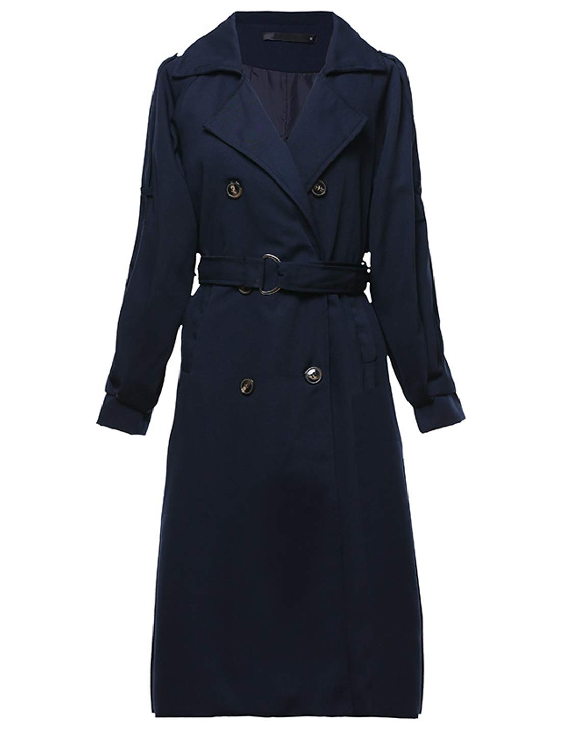Yeokou Women's Causal Double Breasted Full Length Long Trench Coat with Belt (Medium, Navy Blue) by Yeokou