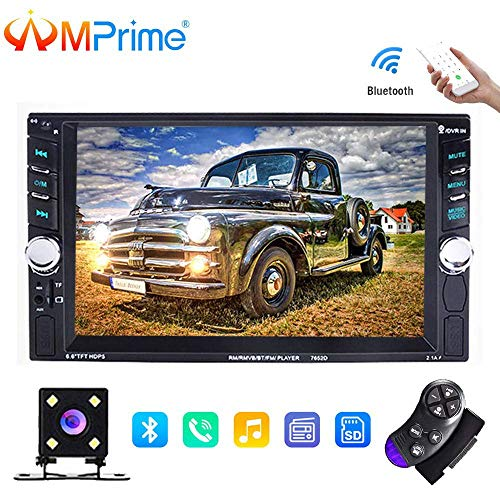 AMprime 2 Din Bluetooth Car Stereo 6.5″ Touch Screen Car Audio FM Radio Player with Dual USB/TF/SD/AUX Jack + Backup Camera + Steering Wheel Remote Control