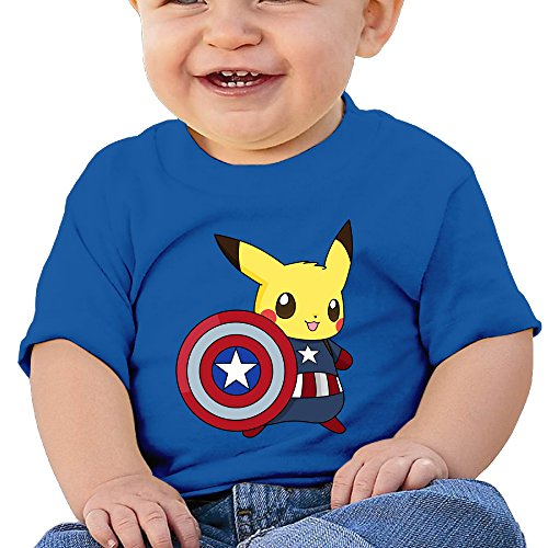 Lennakay Work Baby Girl's Captain Pikachu O-Neck Soft And Cozy Tee Short Sleeve Size6 M