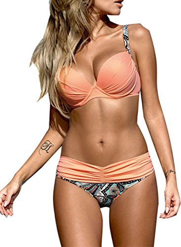 h Up Two Piece Bikini Swimsuits Padded Swimwear Bathing Suits Pink Medium 8 10 ()