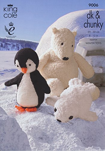 King Cole Cuddles Chunky DK Knitted Animal Characters Winter Pattern Penguin Polar Bear Seal