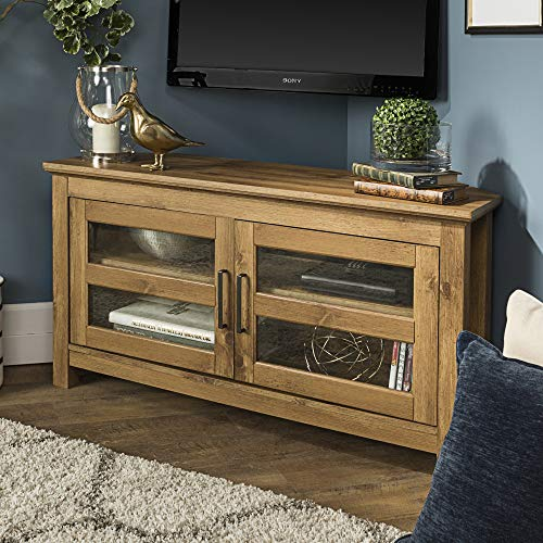 - WE Furniture AZQ44CCRBW Modern Farmhouse Corner TV Stand, Barnwood
