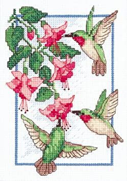 7 Breeds of Hummingbirds on This Stitchery Cross Stitch Kit of The Hummingbird Society From Sunset #13589 Color Accented Chart.