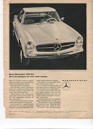 Mercedes-Benz 230 SL Soft Top Hard Top Or Both 1965 Vintage Antique Advertisement
