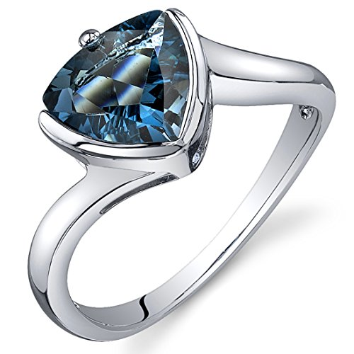 litaire Ring Sterling Silver Rhodium Nickel Finish Trillion 2.00 Carats Size 9 (London Blue Topaz Solitaire Ring)