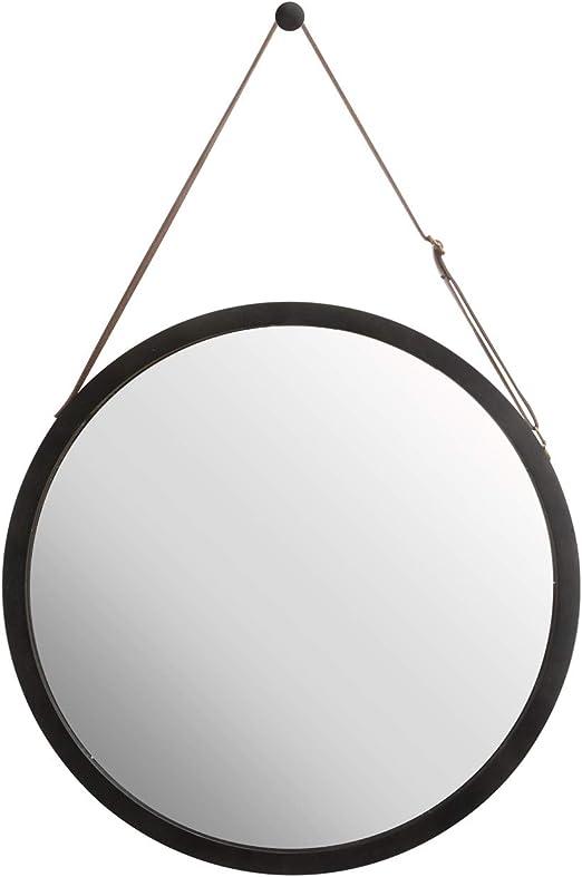 Bamb/ù 38 cm specchio da parete rotondo per corridoio o bagno con cintura in pelle regolabile marrone ZRI BAMBOO