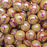 """Unique & Custom {5/8'' Inch} Approx 2 Pound Set of """"Round"""" Opaque Marbles Made of Glass for Filling Vases, Games & Decor w/ Warm Magma Swirl Glossy Space Orb Design [Gold & Red Colors]"""