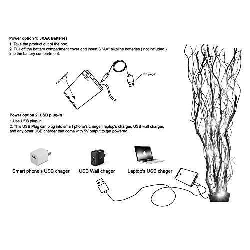 Lightshare Upgraded 36Inch 16LED Natural Willow Twig Lighted Branch for Home Decoration, USB Plug-in and Battery Powered by Lightshare (Image #5)