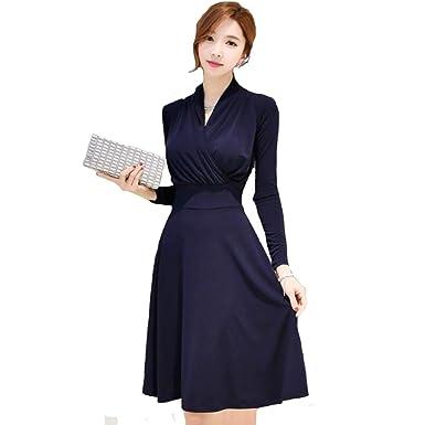 Mujer Oscuro Azul Bodycon Vestir Oficina Dama Cuello En V