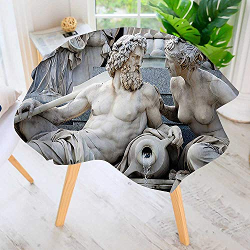 Round Tablecloth Polyester- Male and Female Statues Athena Fountain in Front of The Building Great for Buffet Table, Parties, Holiday Dinner & More 59