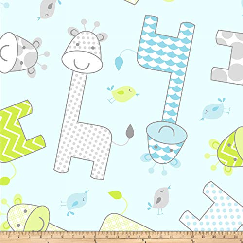 David Textiles Prints Baby Giraffe Fleece Blue Fabric by The Yard