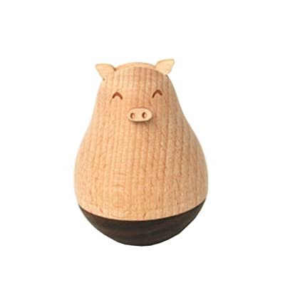 Exceart Roly Poly Pig Wooden Wobbler Crafts Wobbling Chiming Rolling Baby Toy for Desktop Bedside Bookshelf Home Décor: Health & Personal Care