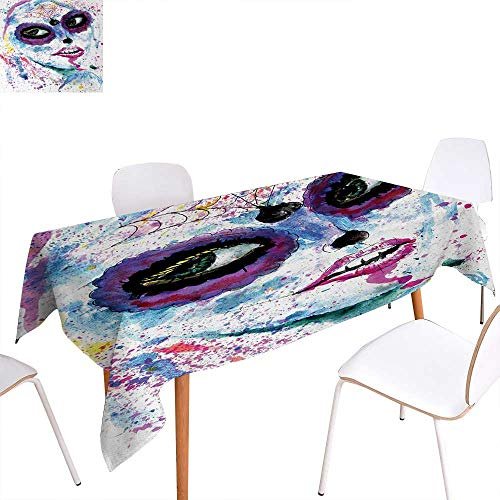 Warm Family Girls Rectangular Tablecloth Grunge Halloween Lady with Sugar Skull Make Up Creepy Dead Face Gothic Woman Artsy Oblong Wrinkle Resistant Tablecloth 70