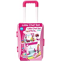 Little Chef 2 in 1 Kitchen Play Set, Pretend Play Luggage Kitchen Kit for Kids with Suitcase Trolley, Multi Color with…