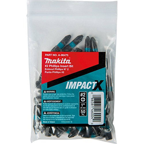 Makita A-96475 Impactx 2 Phillips 1″ Insert Bit, 50 Pack, Bulk