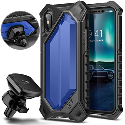 iPhone X Case, ELV iPhone 10 Case High Impact Resistant Rugged Armor Hybrid Full Body Protective Case Cover for Apple iPhone X with Magnetic Car Mount [Wireless Charging Not Compatible] Dark blue