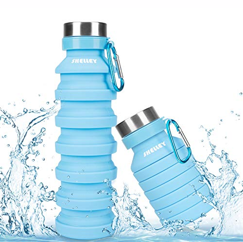shelley-bell Collapsible Silicone Water Bottle for Travel - Portable Foldable Reusable Leakproof Travel Water Bottle BPA Free FDA for Outdoor, Sports Camping Hiking Yogo Gym Drinking