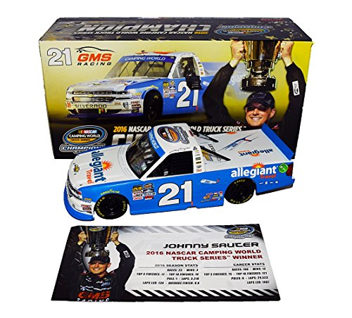 Autographed 2016 Johnny Sauter  21 Allegiant Travel Truck Series Champion  Camping World Truck Series  Signed Lionel 1 24 Scale Nascar Diecast With Coa   632 Of Only 853 Produced