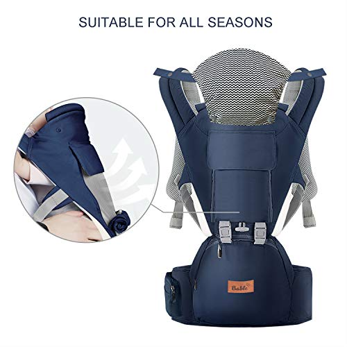 Bable Baby Carrier with Hip Seat, 360 Ergonomic Baby Carrier, Toddler Tush Stool for All Seasons, Soft Baby Sling No Infant Insert Needed - Adapt to Newborn, Infant Hiking Backpack Carrier by BABLE (Image #1)
