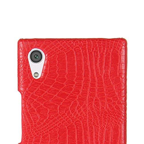 Funda Sony Xperia XA1 Ultra, SunFay Funda Posterior Protector de PC Carcasa Back Cover de Parachoques Piel PU Protectora de Teléfono Para Sony Xperia XA1 Ultra - Rosa Rojo