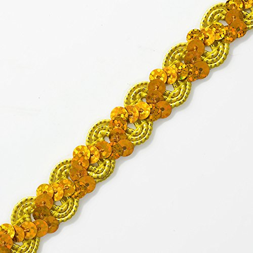 Yellow Oona Ric Rac Cord & Zig Zag Hologram Sequin Trim by 2-yards, EXP-IR6176 - Sequin Ric Rac