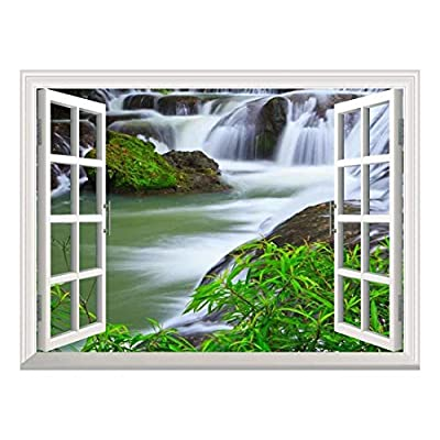 Made For You, Magnificent Artistry, Removable Wall Sticker Wall Mural Waterfall in National Park of Thailand Creative Window View Wall Decor