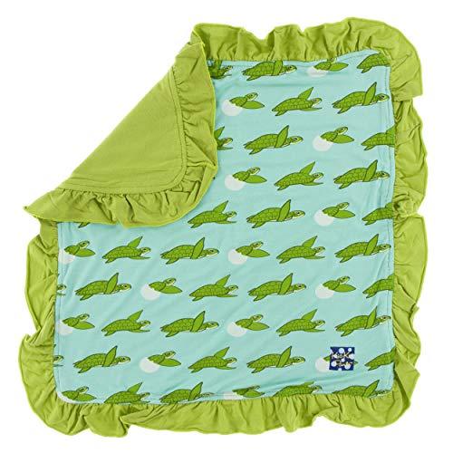 Kids Turtle Pant - KicKee Pants Little Girls Print Ruffle Bamboo Lovey - Glass Sea Turtles, One Size