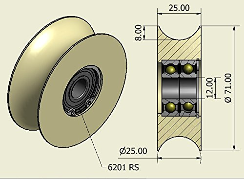 Pack of 4 Nylon Polyamide Pulley wheels 71 mm Diameter with 25 mm Groove Precisely Machined in the EU 71-25-12
