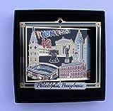 I Love My State Philadelphia Landmarks Brass Ornament Black Leatherette Gift Box
