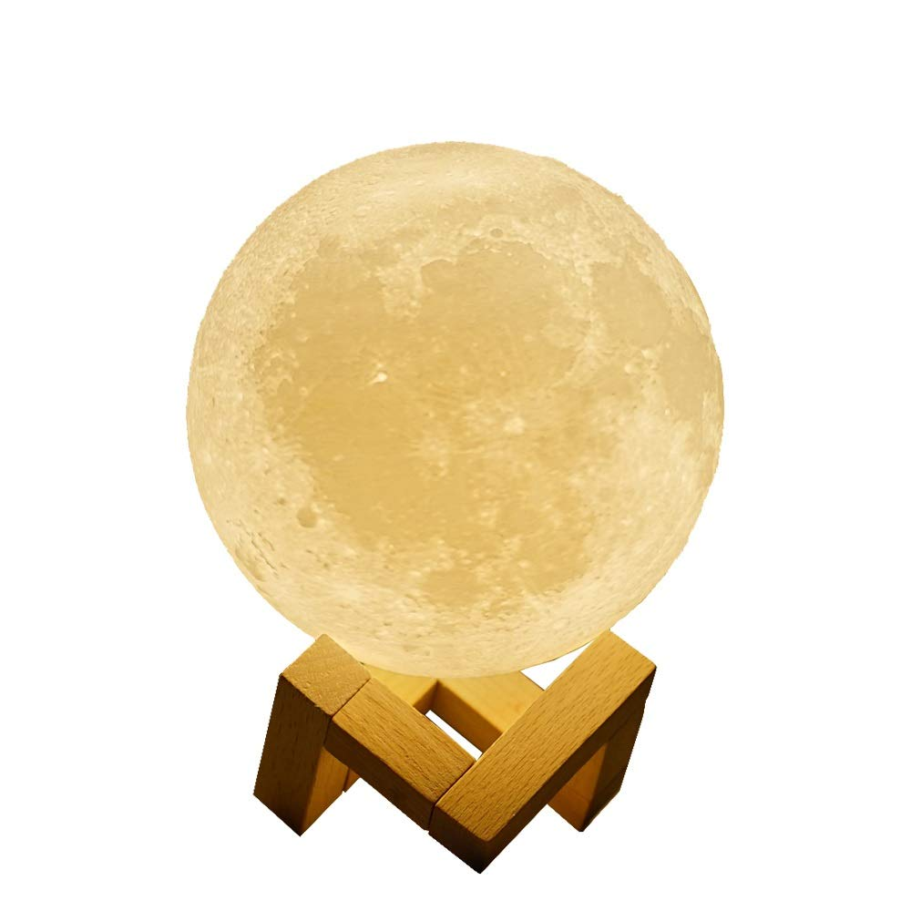 EGULED Full Moon Lamp Night Light 4.7IN With wood Stand 3D Printed with Safe PLA,Eye Caring LED,Dimmable and Rechargeable,Two Colors Touch Control,cool Gift,Halloween decoration