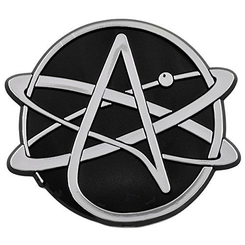Round Atheist Atom Chrome Auto Emblem - 3.5