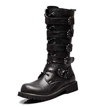 724aa67255788 Amazon.com: SHANHEYY Men's High Top Biker Boots Army Military ...