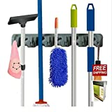 Wall Broom Organizer Mop Holder Organizer With 5 Positions Storage Solution And 6 Aluminum Hooks For 11 Tools And E-book By TSR