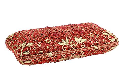 Larga De Señoras Bolsos Yilongsheng Deslumbrante Flores Las Cristal Square Rojo Embrague gOyq7PA