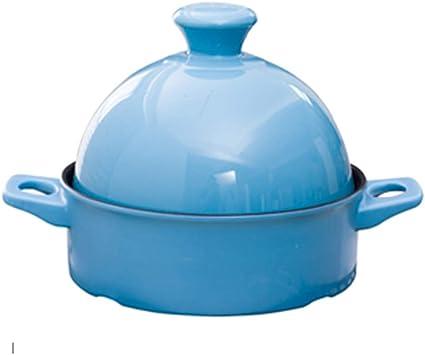 CYC Tajine Topf 20 cm Marokkanische Tagine Keramikmaterial Best/ändig Gegen Trockenes Brennen Verbr/ühschutz Frei Von Schadstoffe Langsamer Kocher Geeignet f/ür 1-3 Personen,Blau