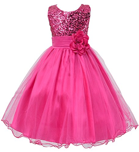 Hotone Girl Kid Princess Wedding Bridesmaid Party Formal Sequin Ball Gown Dress (7-8 Years, -