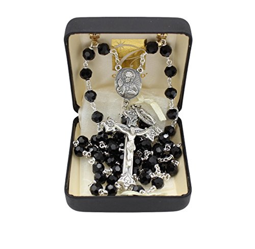 Bundle: Vienna Austrian Crystal Rosary with 7MM Black Crystal Beads with Organza Storage Bag