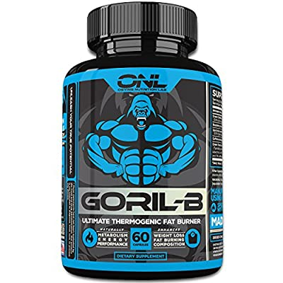 GORIL-B Thermogenic Fat Burner Pills for Men and Women (60 Capsules) #1 New Diet Weight Loss Formula! Lose Weight, Boost Metabolism, Increase Energy, Suppress Appetite! Promotes Healthy Weight Loss!