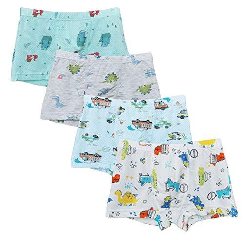 CHUNG Little Big Boys Soft Cotton Modal Boxer Briefs Underwear Pack of 5/6 Dinosaur Car Fish 2-9Y4 Pack-Dino,5-7Y