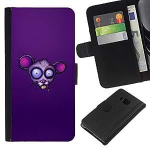 Planetar® Modelo colorido cuero carpeta tirón caso cubierta piel Holster Funda protección Para HTC One M7 ( Purple Rat Face )