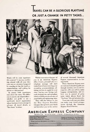 1931-ad-american-express-travelers-cheques-check-banking-luggage-baggage-tourism-original-print-ad