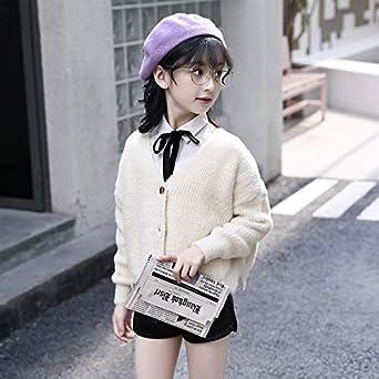 Girls Autumn Cardigan Thick Jacket Open School Season Button Casual Sweater