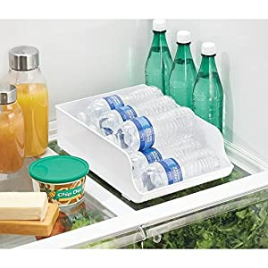InterDesign Refrigerator Storage Organizer Bin for Kitchen, Water Bottle Holder, White