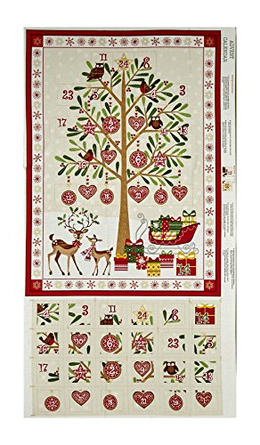Traditional Metallic Christmas Advent Calender 24in Panel Bright - Panels Christmas Calendar Advent