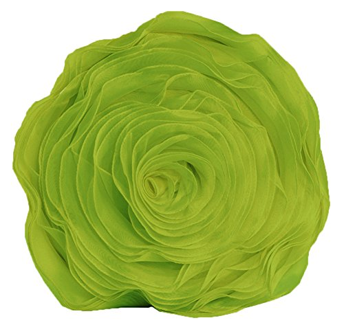 Fennco Styles Hayley Rose Chiffon Decorative Throw Pillow, Filler Included, 16-inch Round (Lime) (Lime Throw Green Bed)