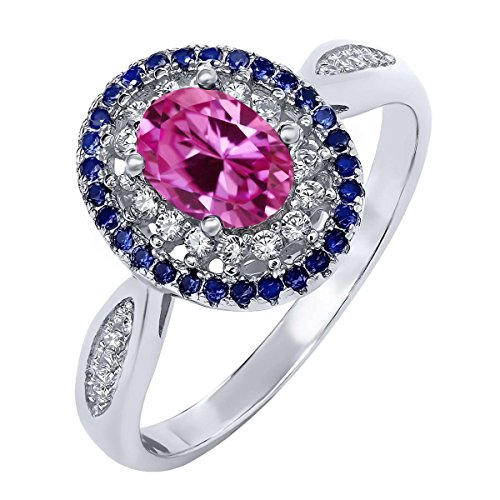 160-Ct-Oval-Pink-Created-Sapphire-925-Sterling-Silver-Womens-Ring-Available-in-size-5-6-7-8-9