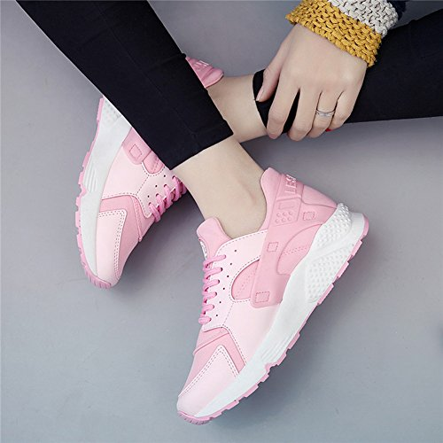 Wealsex Women's Sports Mesh Running Shoes Hiking Trainers Fitness Gym Walking Shoes Lightweight Fashion Sneakers Thick Bottom Platform Shoes Pink YzUkr5
